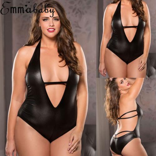 Sexy Womens One Piece Patent Leather Latex Catsuit Erotic Leotard Costumes Wetlook Halter Sleeveless High Cut Bodysuit Clubwear