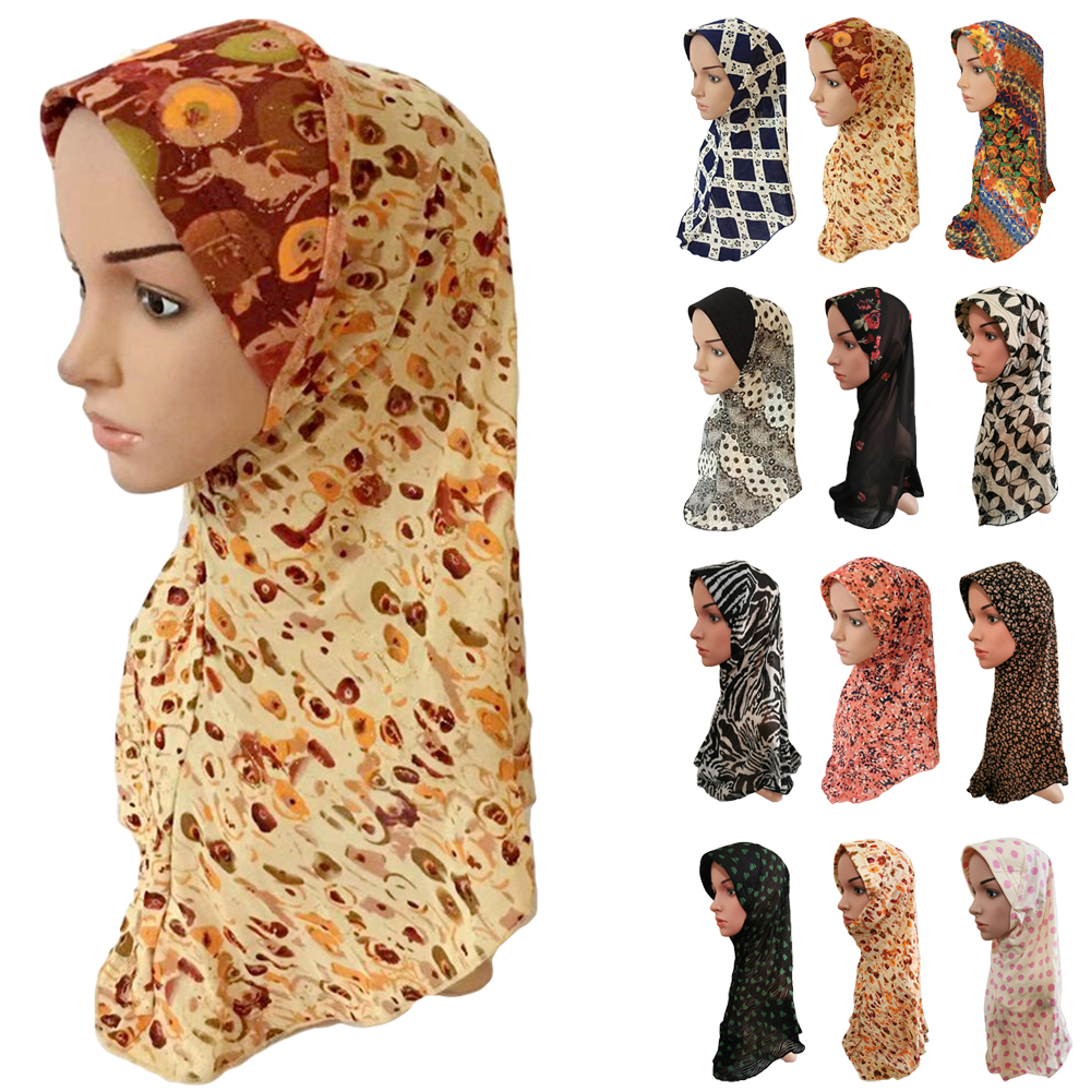 Women Printed Muslim Long Hijab Full Cover Headscarf Islamic Head Wrap Shawl Caps Amira Hijab Scarf Headwear Arab Neck Cover Hat