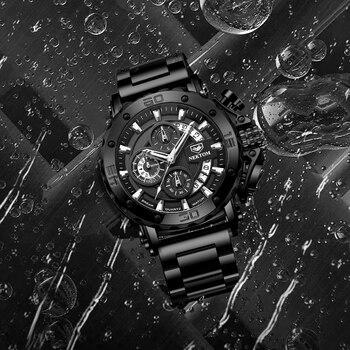 NEKTOM Men's Watches Quartz Watch Waterproof Watches Steel Strap Wristwatch Watches For Men Military Watch Clock Sports Watches 5