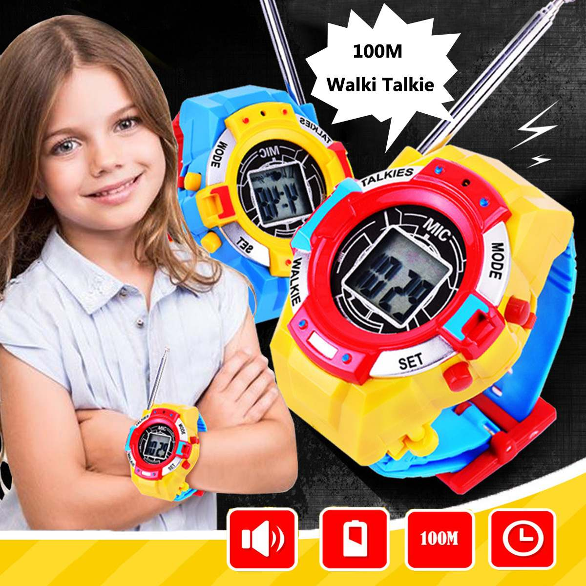 2Pcs/Pair Novelty 7in1 Kids Toys Watch Walkie-talkie Intercom Toys Outdoor Interaction Battle Game