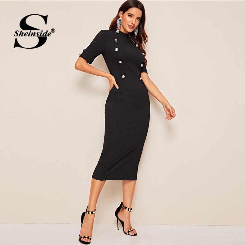 Sheinside Elegant Double Breasted Pencil Dress Women 2019 Summer Short Sleeve Split Hem Bodycon Dresses Ladies Solid Midi Dress