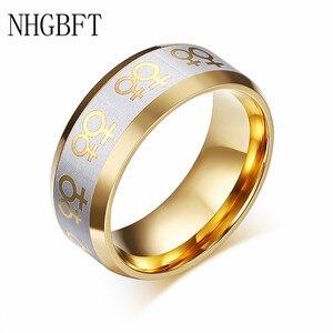 Женское золотое кольцо NHGBFT, свадебное кольцо из нержавеющей стали для геев, дропшиппинг