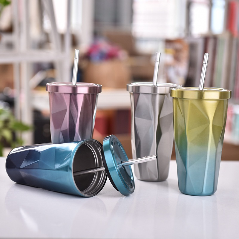 Colorful Stainless Steel Drinking Cup with Lid and Straw Tumbler Hot Cold Double Wall Vacuum Insulation Coffee Mug Water Flask