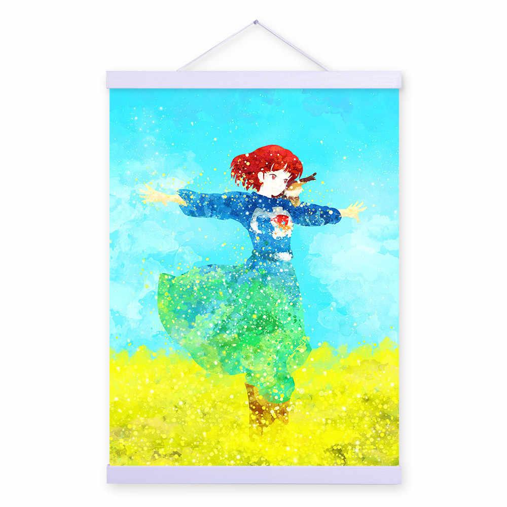 Cat Air Anime Jepang Kanvas Lukisan Prajurit Angin Gadis Anak Dekoratif Lukisan Minyak Cuadros Dekorasiacion Salon