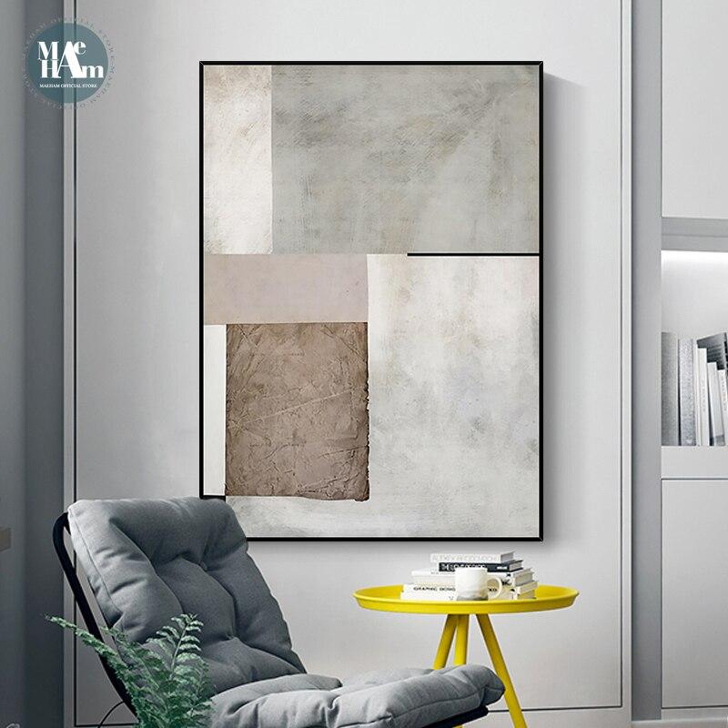 Современная Минималистичная настенная живопись на холсте, абстрактная теплая цветная полоса, художественный плакат, Настенная картина для...