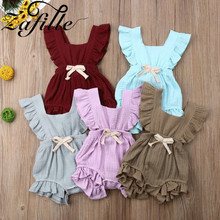 ZAFILLE Summer Baby Bodysuit Girl Clothes Solid Ropa Bebe Cotton Romper Bowknot Newborn Infant  Jumpsuit Girls