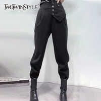 TWOTWINSTYLE-Pantalones harén asimétricos para mujer, pantalón holgado informal de cintura alta, color negro, Ropa nueva de moda, Otoño, 2020