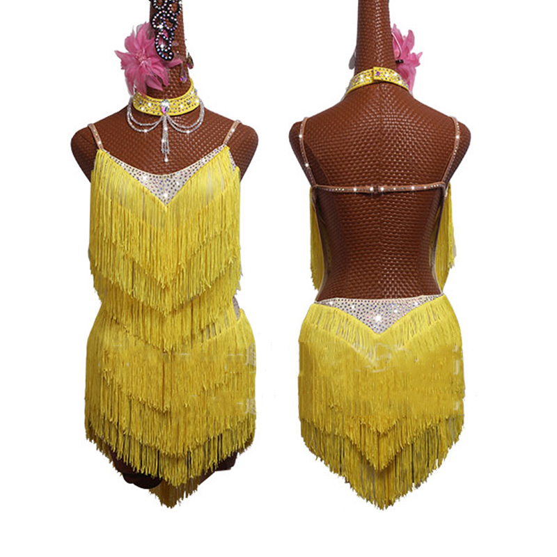 New Latin Dance Dress Yellow Fringe Dress Sexy Backless 2019 Salsa Dress ChaCha Rumba Competition Dancing Dress Women BL2554