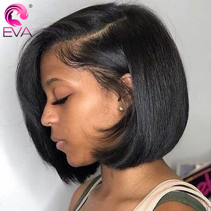 Eva Hair Short Bob Wig Lace Front Human Hair Wigs For Black Women Brazilian Straight Lace Front Wigs Pre Plucked With Baby Hair