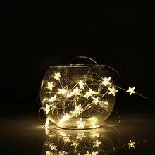 2/3M cadena luces LED Decoración Luz de hadas batería operada impermeable estrella de cobre lámpara de alambre interior al aire libre Navidad boda