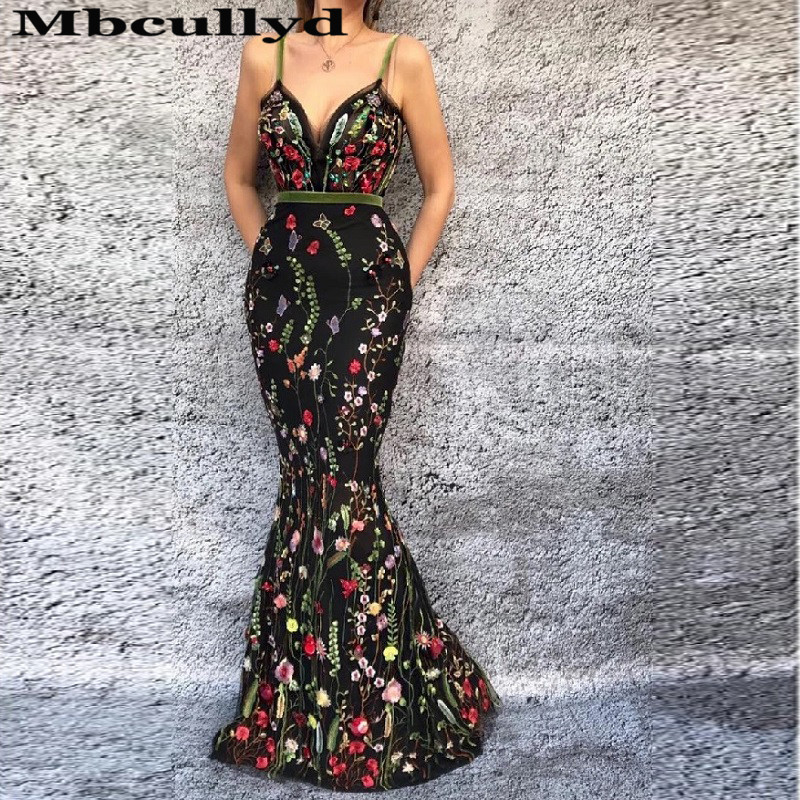 Mbcullyd Pretty Mermaid Prom Dresses Long 2020 Spaghetti Straps Formal Evening Party Dress Luxury Lace Vestidos De Fiesta De