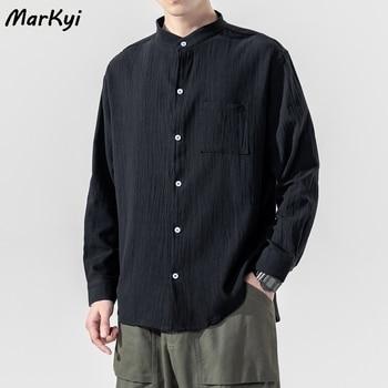 MarKyi 2020 fashion linen dress shirts for men plus size 5xl long sleeve pocket loose shirt mandarin collar
