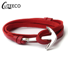 CUTEECO Nine Colors Punk Multi Layer PU Leather Wrap Anchor Bracelet Hooks Bangle for Man Jewelry Dropshipping
