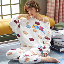 Spring New Lovely Pajama Set Ladies Sleepwear Cute Cotton  Printed Household Clothes Long Sleeve Round Neck Loose Casual Wear