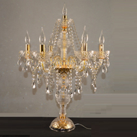 Modern Decora Crystal Table Lamps for Bedroom Golden Silver Table Lights Candle Candelabra Crystal Table Lamp Designs Lighting