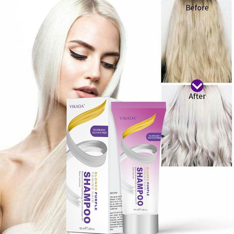 Blond Purple Toning Hair Shampoo Remove Yellow Purple Toner To Silver Ash Blonde Bleached Gray Hair Dye Remove Yellow 100ml