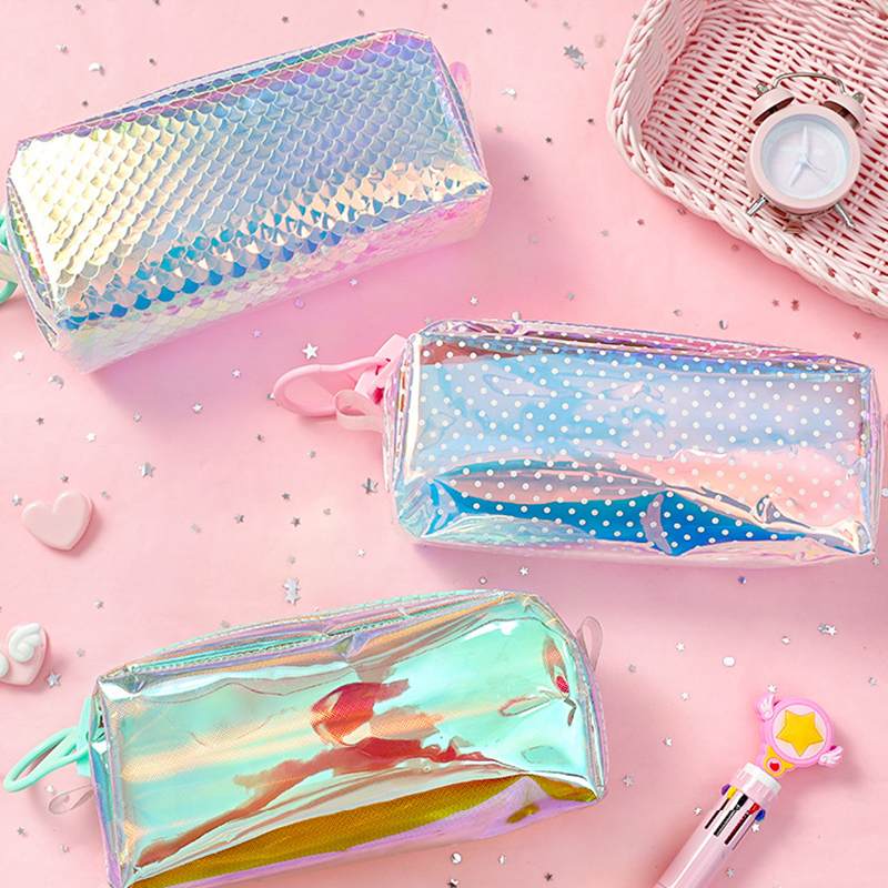 Shining Pencil Case Stationery Storage Cute Fashion Stylish For Office School Student Supplies Children Kids Gift Big Pencil Bag