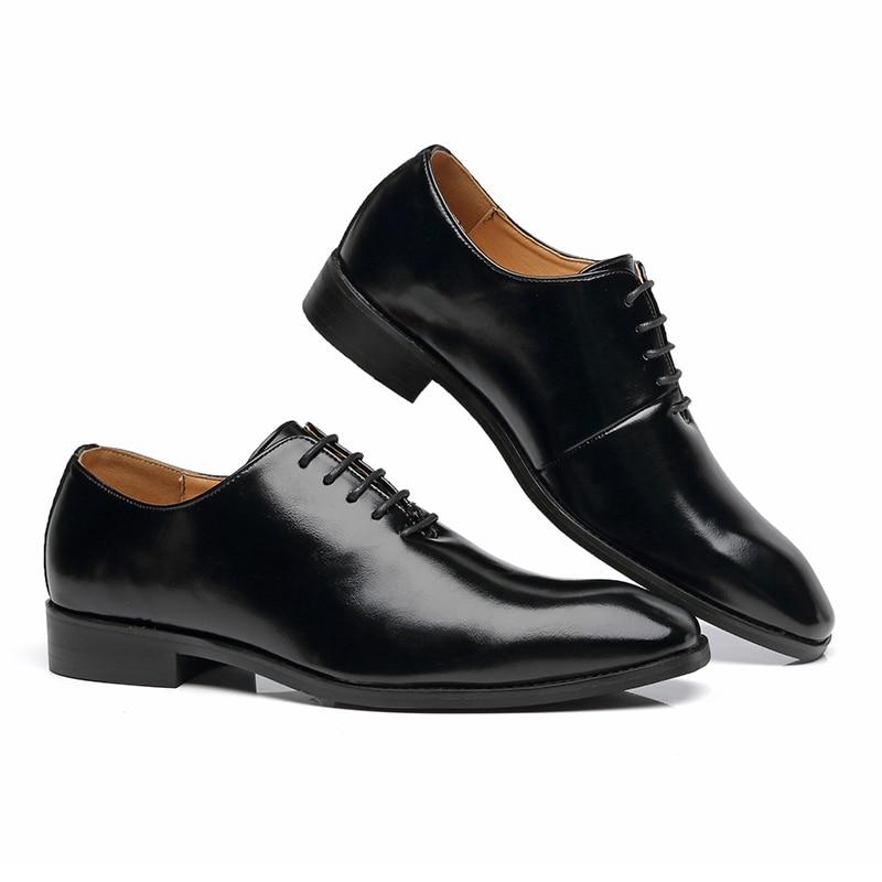 2020 Men Shoes British Business Suit Men Formal Dress Shoes Lace-Up Flats Loafers Party Wedding Oxfords Big Size