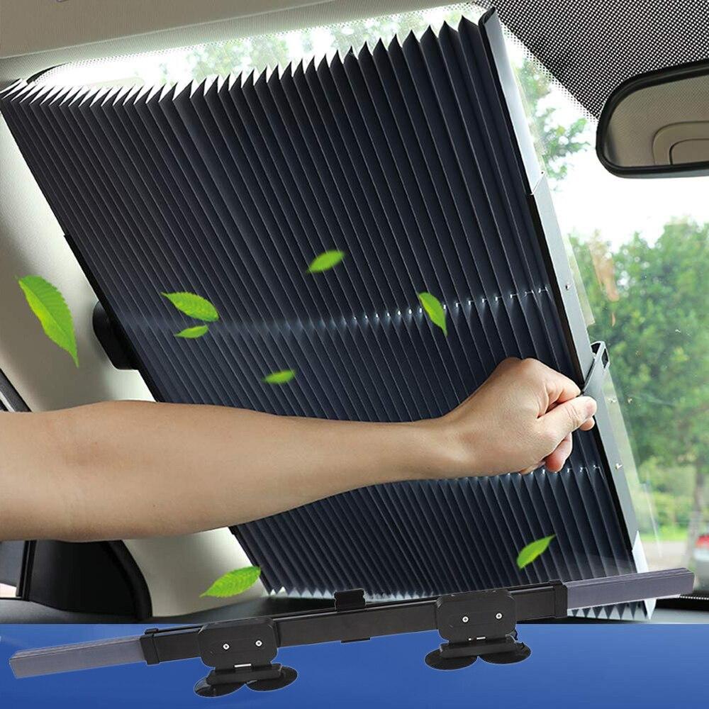 Car Retractable Windshield -UV Car Window Shade Car Front Sun Block Auto Rear Window Foldable Curtain 46cm