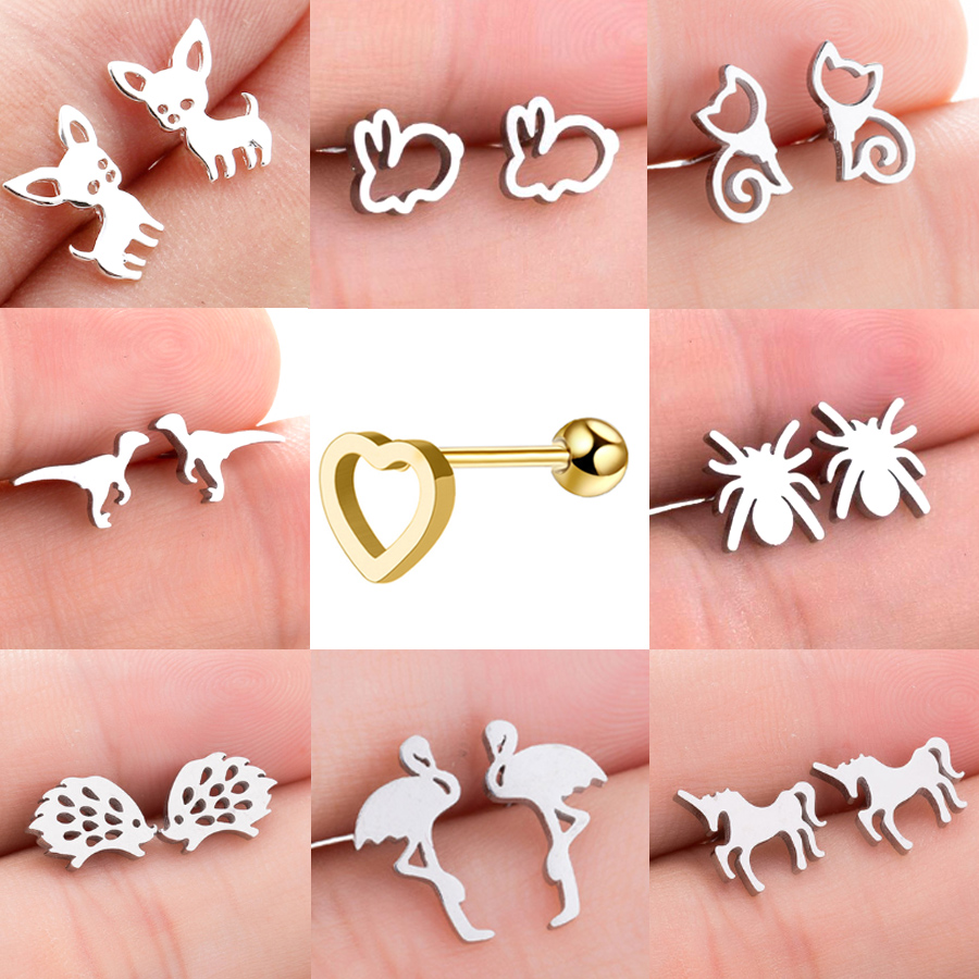 Starbeauty 2 pcs Dog Cat Dragon Spider Horse Heart Helix Piercing Tragus Earrings Women Ear Piercing Stud Earring Body Jewelry