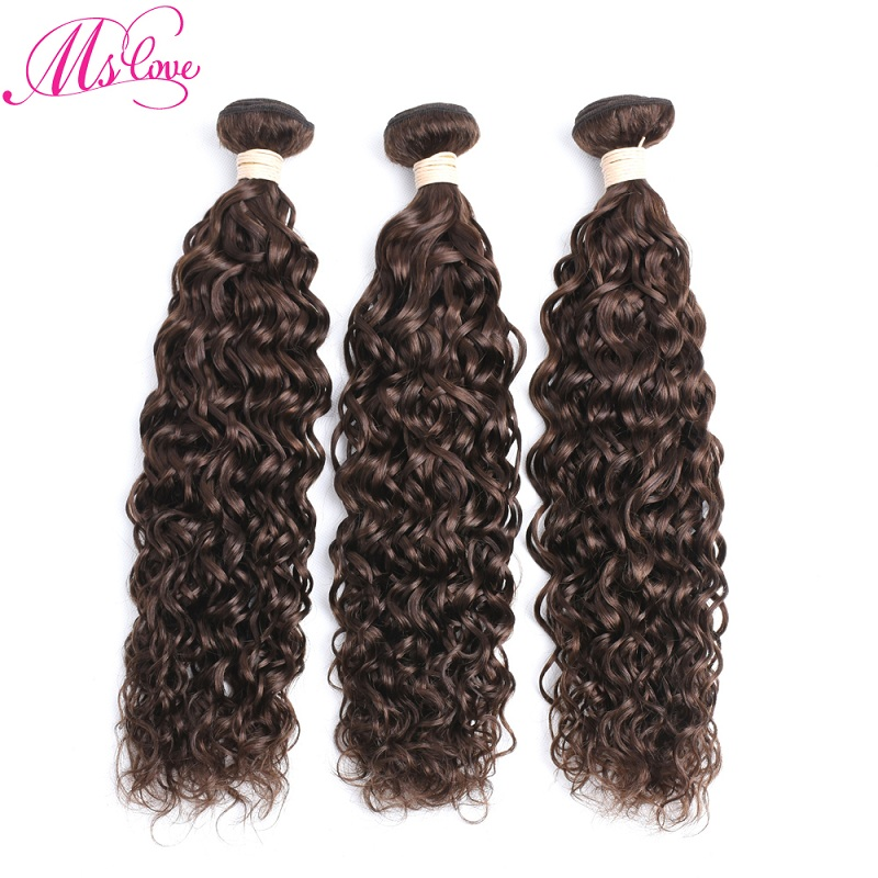 Ms Love #4 Medium Brown Water Wave Brazilian Hair Weave Bundles 1 2 3 4 Piece Non Remy Human Hair Extensions 100 Gram/Bundle