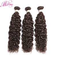 Ms Love #4 Medium Brown Water Wave Brazilian Hair Weave Bundles 1 2 3 4 Piece Non Remy Human Hair Extensions 100 Gram/Bundle