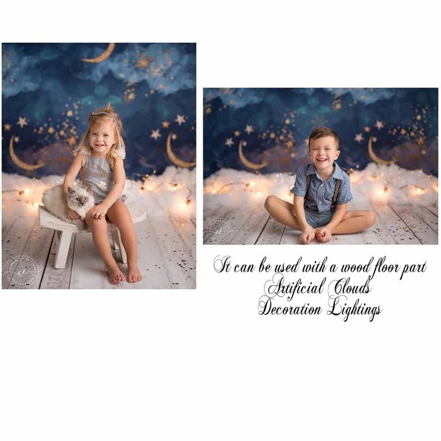 NeoBack Gold Moon Stars Flash Newborn Photography Backdrop Baby Shower Birthday Party Children Photocall Studio Photo Background