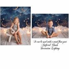 Neoback ouro lua estrelas flash newborn fotografia pano de fundo do chuveiro do bebê festa de aniversário crianças photocall estúdio foto fundo
