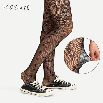 KASURE New Fashion Hacquard Starry Moon Star Tights For Women Micro Mesh Tight Transparent Star Moon Patterned Tights For Lady star decorated net tights