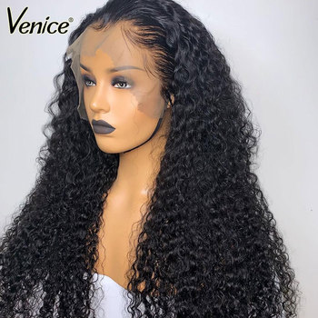 Venice 360 Lace Frontal Wig For Fashion Women Lace Front Human Hair Wig Pre Plucked With Baby Hair Beauty Curly 180% Remy Hair