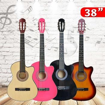 38 Cal akustyczna gitara dla początkujących pierwsze kroki biorąc joga w instrumenty strunowe tanie i dobre opinie Ciemne drewno Heban Beginner Unisex Gitara akustyczna Brazylia drewna Pasywny zamknięte typu Zamknięty gałka