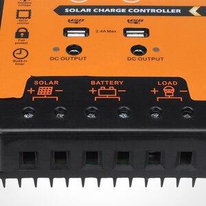 Image 5 - PWM солнечный контроллер заряда 30A 50A 70A MPPT 12 В 24 в двойной USB Солнечный регулятор с большим ЖК дисплеем IP32 PV Контроллер батареи таймер загрузки