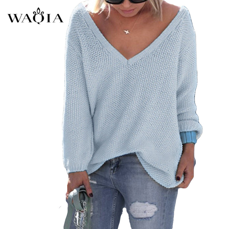 Autumn Sweater Sexy V-Neck  Knitted Sweater Women Plus Size  Pullovers Female Winter Solid Colors Loose  Sweaters Pullover