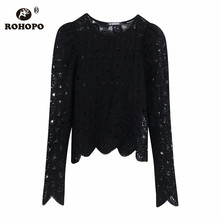 ROHOPO Jacquard Puff Shoulder Hollow Out Long Sleeve Knitted Tops Blouse Ruffled Hem Slim Lady Autumn Sexy Pullover Shirt #9611 недорого
