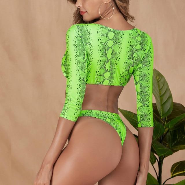 Snake Print Long Sleeve Crop Top + Thong Bikini Set 6