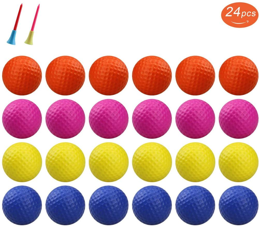 12/24pcs Crestgolf Practice Foam Golf Balls, Golf Foam Sponge Soft Elastic Practice Indoor &Outdoor Ball
