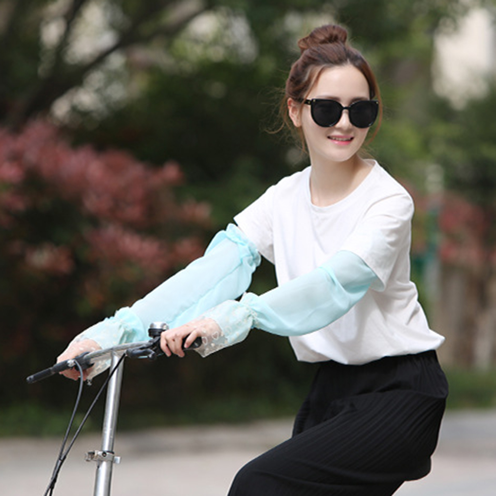 Women's Fashion Casual Cycling Driving Loose Breathable Solid Color Mesh Sunscreen UV Protection Half Finger Lace Arm Sleeve