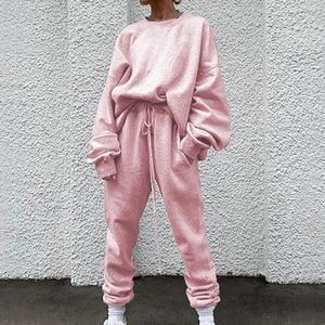 Jodimitty 2020 Autumn Tracksuit Two piece set Womens Hoodies High Waist Jogger Harem Pants Pink Loose 2 pieces Putfits For Women