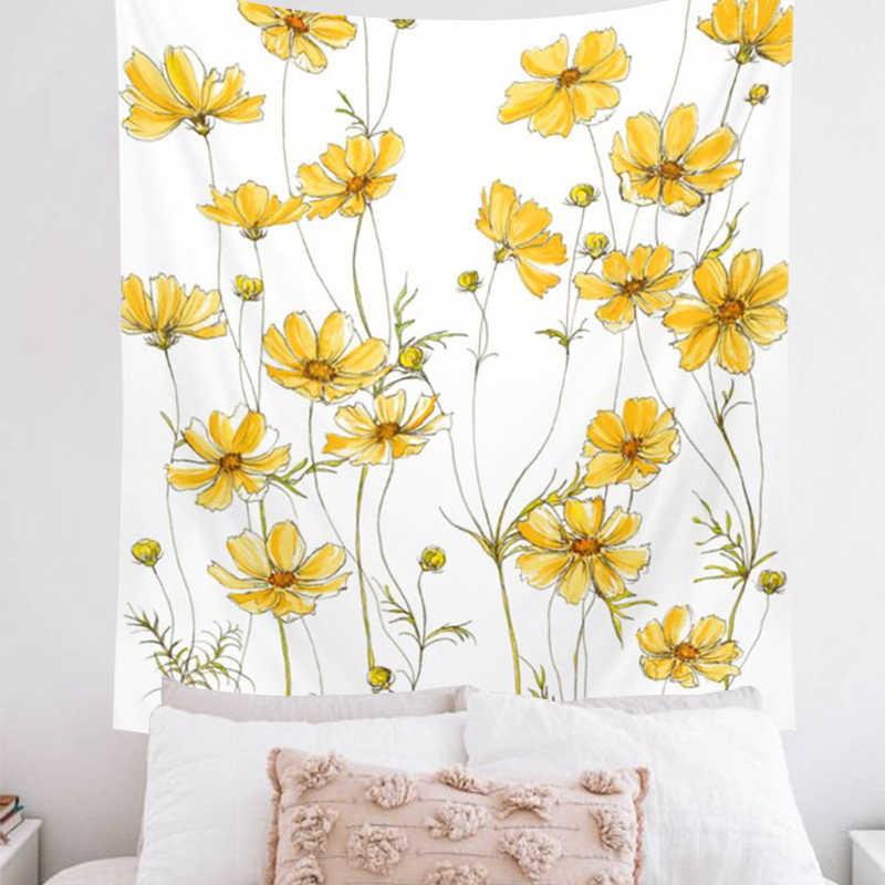 ピンクの花 comos 花タペストリー壁フローラル黄色タペストリー壁紙家の装飾小型タペストリー自由奔放に生きるカーペット