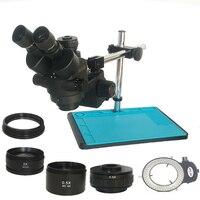 새로운 광학 3.5x-90x 산업 trinocular 스테레오 악기 현미경 0.5x 2.0x 어댑터 렌즈 쥬얼리 휴대 전화 pcb 수리