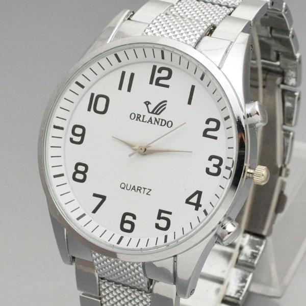 Orlando Fashion Men Watches White Dial Steel Band Mens Watches Men's Quartz Wristwatch Man Watch Relojes Hombre Zegarek Meski