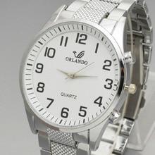 Orlando Fashion Men Watches White Dial Steel Band Mens Quartz Wristwatch Man Watch relojes hombre zegarek meski