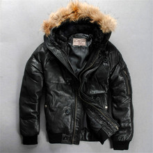 Men's Genuine Sheep Leather Down Jacket Warm Sheep Skin Winter Leather Jacket(China)