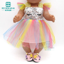 Clothes for doll Sequined dress shoes fit 43 45cm baby toy new born doll and American doll accessories Girls gift