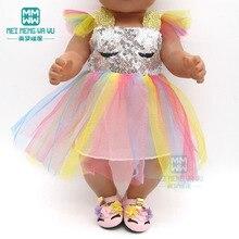 Kleidung für puppe Pailletten kleid schuhe fit 43 45cm baby spielzeug neue geboren puppe und Amerikanischen puppe zubehör mädchen geschenk