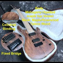 E-G3 High Quality 8 strings Electric guitar Neck Thru Body Spalted maple Top Veneer Maple Fingerboard strings thru body ASH Body недорго, оригинальная цена