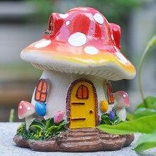 Pastoral style home decoration resin mushroom house decoration micro landscape decoration bonsai mushroom sculpture resin crafts