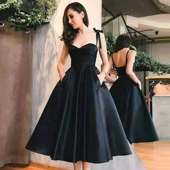 Black Short Cocktail Dresses 2020 Spaghetti Straps Sweetheart Neck Formal Party Backless Prom Gowns Satin robe cocktail femme - discount item  35% OFF Special Occasion Dresses