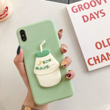 Lucu 3D Pisang Manis Susu Strawberry Minuman untuk iPhone X XS Max XR 6 6S 7 7 Plus Permen warna Ultra Tipis Frosted Matte Cover Caqa(China)
