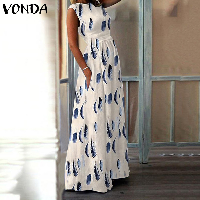 VONDA Maternity Dress Pregnant O-Neck Print Summer Dress Maternity Photography Props Sexy Sleeveless Floral Pregnancy Dress 2019